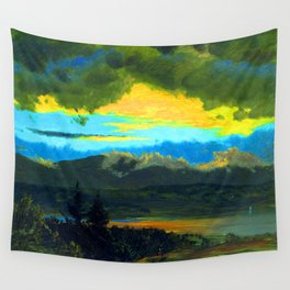 Frederic Edwin Church Sunset Across the Hudson Valley Wall Tapestry
