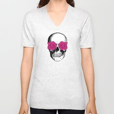 Skull and Roses | Grey and Pink Unisex V-Neck