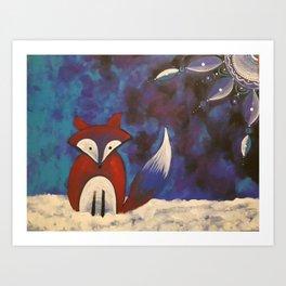 Fox & Moon Art Print