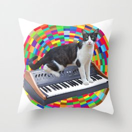 Cat on Synth Throw Pillow