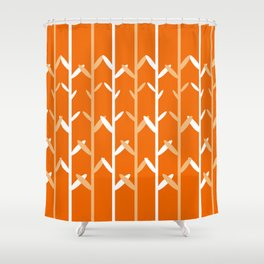 Oat Field Leafy Orange Pattern Shower Curtain
