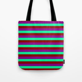 Dark Red, Dark Magenta, and Green Lines Pattern Tote Bag