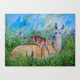 Deer Mom and babe fine art painting  Canvas Print