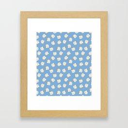 Cotton Blossom Toss in Carolina Blue Framed Art Print