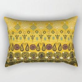 lotus block vintage gold Rectangular Pillow