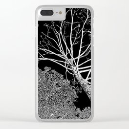overhead, drawing, white on black Clear iPhone Case