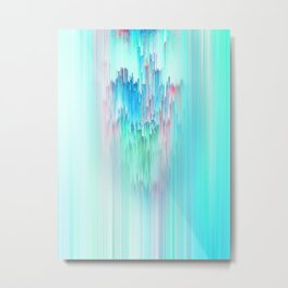 Rainbow Cascade Glitch Metal Print
