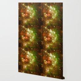 Golden Brown & Green Galaxy Nebula Wallpaper