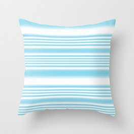 Sky Blue and White Stripes Throw Pillow
