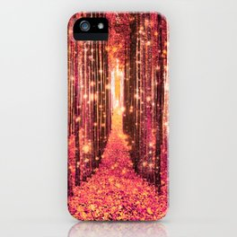 Magical Forest Pink Living Coral Peach iPhone Case