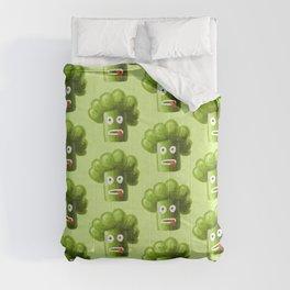 Green Funny Cartoon Broccoli Comforters