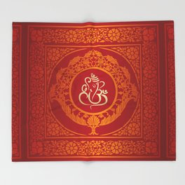 Hindu Elephant Pattern (Shree Ganesh) Throw Blanket