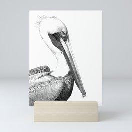 Black and White Pelican Mini Art Print