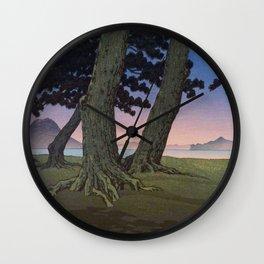 Kawase Hasui Vintage Japanese Woodblock Print Pink Purple Hues Ombre Sunset Through Pine Trees Lands Wall Clock