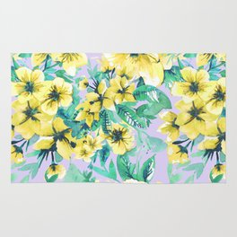 Floral Print Tropical Yellow Rug