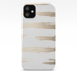 Simply Brushed Stripe White Gold Sands on White iPhone Case