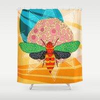 - sun power bee - Shower Curtain
