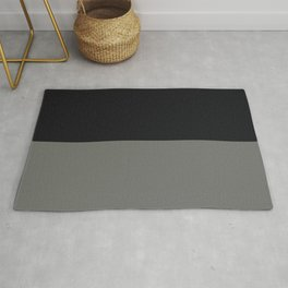 Black & Dark Pewter Gray Solid Color Horizontal Stripe Minimal Graphic Design Jolie Legacy & Noir Rug