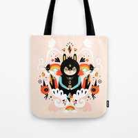 queen Tote Bags featuring Rainbow Queen by Muxxi