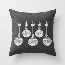 Retro Christmas Ornaments Chalkboard Throw Pillow