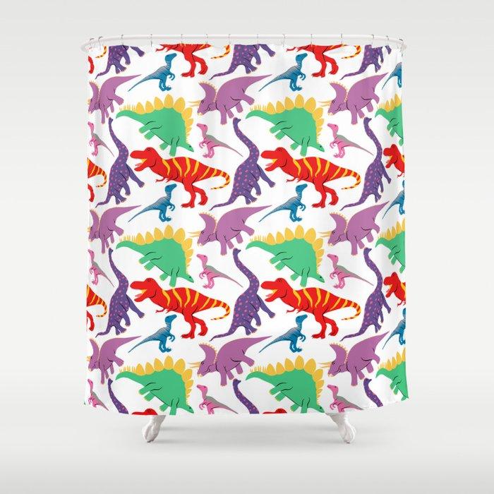 Dinosaur Domination Light Shower Curtain By Leannesimpsonart Society6