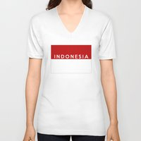 indonesia V-neck T-shirts featuring indonesia country flag name text by tony tudor