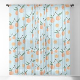 Fruity Oranges Pattern in Cool Blue Sheer Curtain