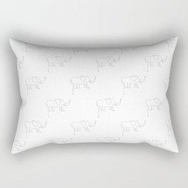Line Elephant March (White) Rectangular Pillow