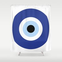 evil eye Shower Curtains featuring evil eye, blue, by Gorgeous Graphic Design