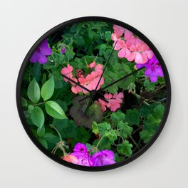 Pink and purple garden Wall Clock