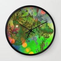 "gemini Wall Clocks featuring "" Gemini "" by shiva camille"