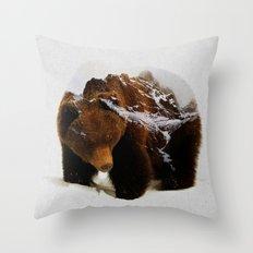 Bear In The Mountains Throw Pillow