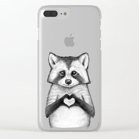 raccoon with heart Clear iPhone Case