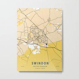 Swindon Yellow City Map Metal Print