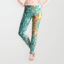 Orange and Turquoise Clarity Mandala Leggings