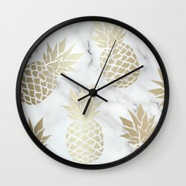 Tropical Pineapple, Marble and Gold Abstract Pattern Wall Clock