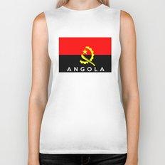Angola country flag name text Biker Tank