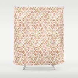 PAISLEY MERMAID Rose Gold Fish Scales Shower Curtain