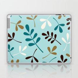 Assorted Leaf Silhouettes Teals Cream Brown Gold Laptop & iPad Skin