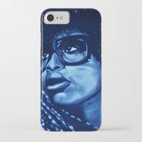 erykah badu iPhone & iPod Cases featuring badu?!-blue by noblackcolor