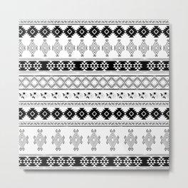 Black & White Primitive Pattern Metal Print