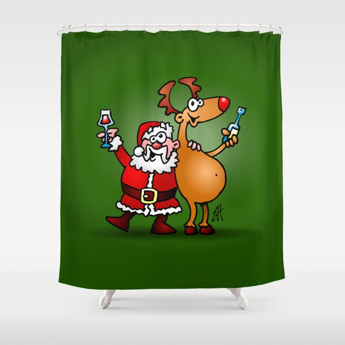 Santa Claus And His Reindeer Shower Curtain