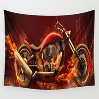 motorbike Wall Tapestries featuring FIRE MOTORBIKE by Acus