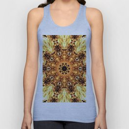 Yellow Brown Mandala Abstract Flower Unisex Tank Top