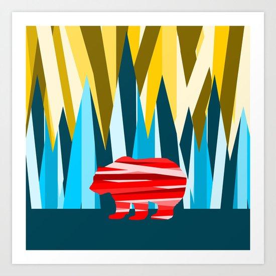 Abstract lines Bear Art Print