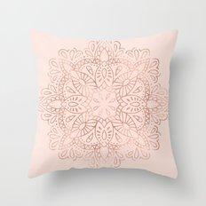 Mandala Rose Gold Pink Shimmer on Blush Pink Throw Pillow