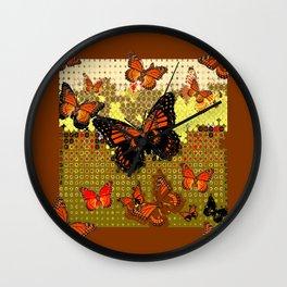 Coffee Brown Abstracted Black & Orange Monarch Butterflies Wall Clock