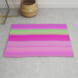 pink and green horizontal lines Rug