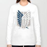 shingeki no kyojin Long Sleeve T-shirts featuring Wings of Freedom (Shingeki no Kyojin) by DPain