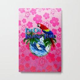 Island Time Surfing Pink Hibiscus Metal Print